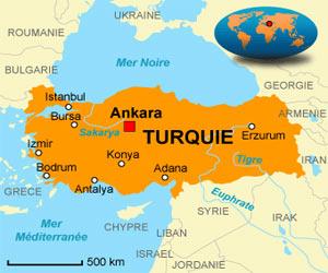 Plan et carte de la Turquie en Europe