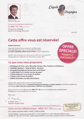Lettre d'introduction de cigale voyage